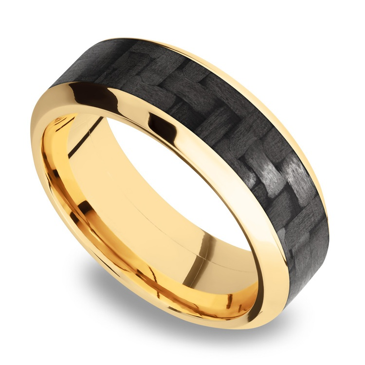 High Bevel Carbon Fiber Inlay Men's Wedding Ring in 14K Yellow Gold | 01