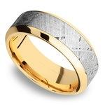 High Bevel Meteorite Inlay Men's Wedding Ring in 14K Yellow Gold | Thumbnail 01