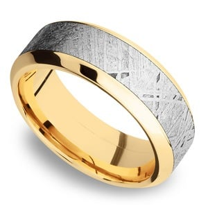 Sun Burst - 14K Yellow Gold Mens Band with High Bevel Meteorite Inlay