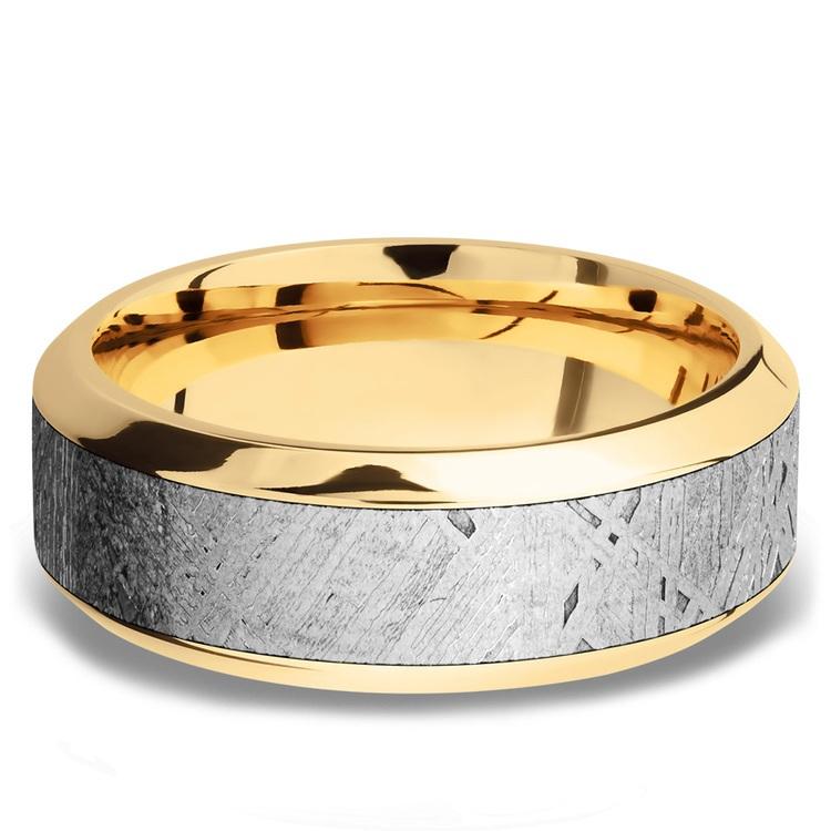 High Bevel Meteorite Inlay Men's Wedding Ring in 14K Yellow Gold | 03
