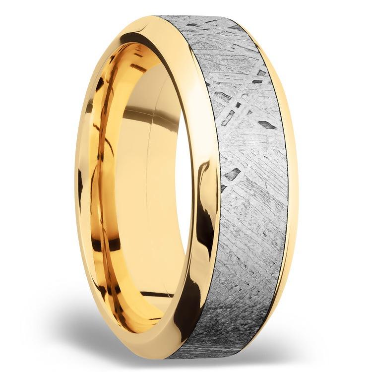 High Bevel Meteorite Inlay Men's Wedding Ring in 14K Yellow Gold | 02
