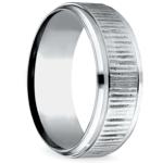Horizontal Bark Pattern Men's Wedding Ring in Cobalt | Thumbnail 02