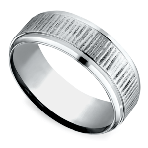 Horizontal Bark Pattern Men's Wedding Ring in Cobalt