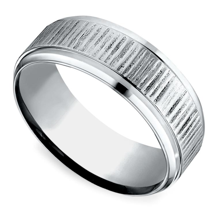 Horizontal Bark Pattern Men's Wedding Ring in Cobalt | 01