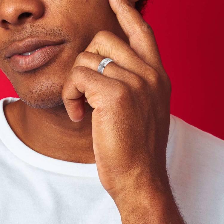 Horizontal Bark Pattern Men's Wedding Ring in Cobalt   04
