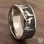 Howl - Wolf and Forest Pattern Mens Band in Titanium | Thumbnail 04
