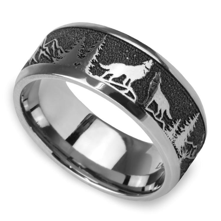 Howl - Wolf and Forest Pattern Mens Band in Titanium | 01
