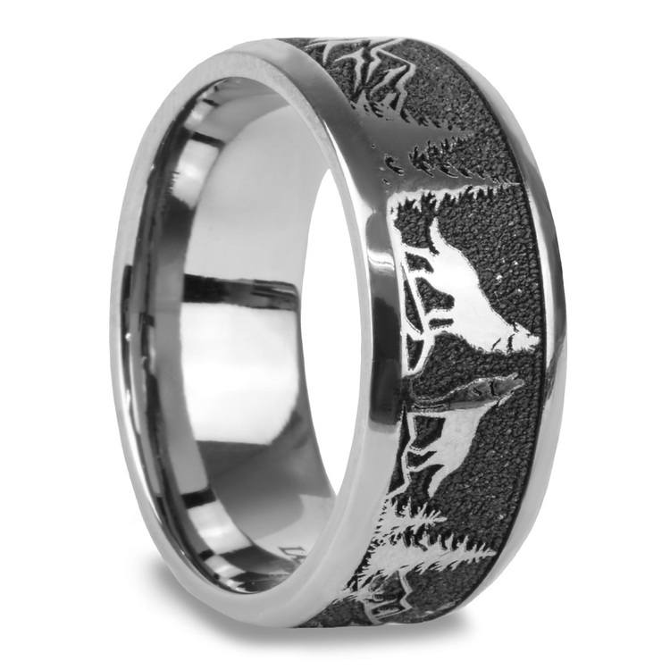 Howl - Wolf and Forest Pattern Mens Band in Titanium | 02