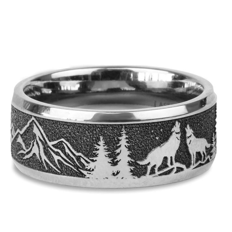 Howl - Wolf and Forest Pattern Mens Band in Titanium | 03