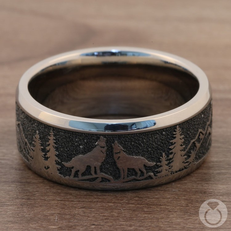 Howl - Wolf and Forest Pattern Mens Band in Titanium | 04