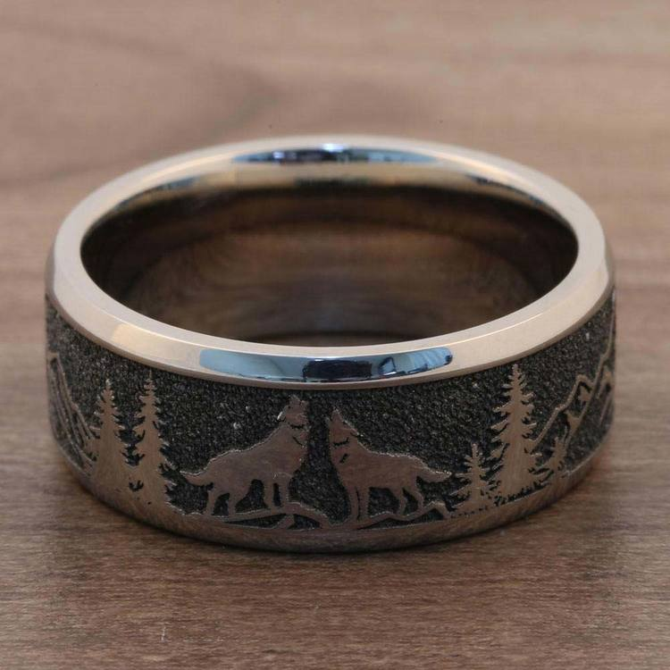 Howl - Wolf and Forest Pattern Mens Band in Titanium | 05