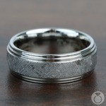Hubble - Beveled Cobalt Chrome Mens Band with Meteorite Inlay | Thumbnail 04