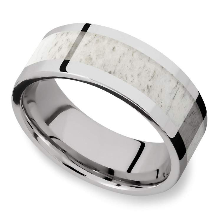 The Hunt -  Cobalt Mens Band with Antler Inlay | 01