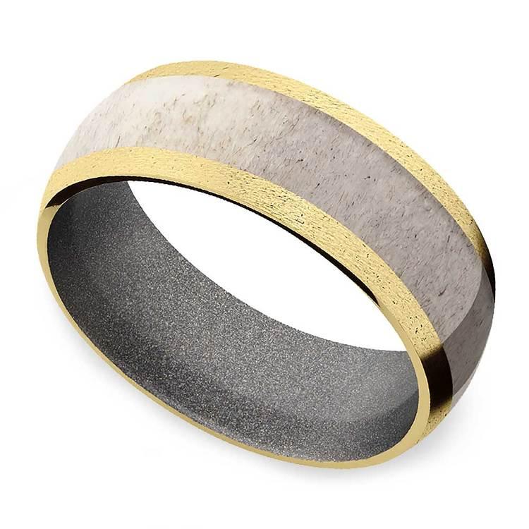 Huntsman -  Antler Inlaid Gold Mens Band with Cerakote Sleeve | 01