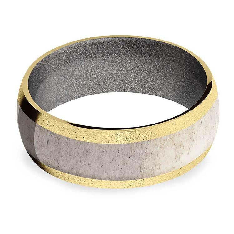 Huntsman -  Antler Inlaid Gold Mens Band with Cerakote Sleeve | 03