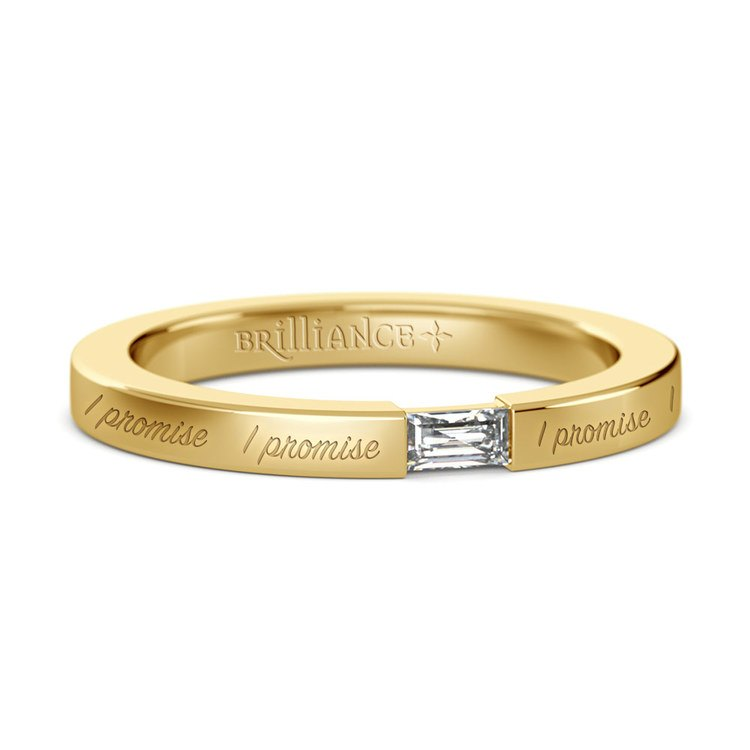 """""""I Promise"""" Baguette Diamond Promise Ring in Yellow Gold (2.5mm) 
