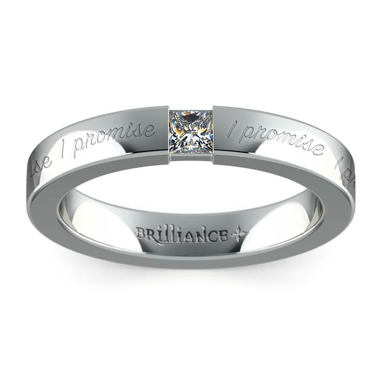 """I Promise"" Princess Diamond Promise Ring in White Gold (3.4 mm) 