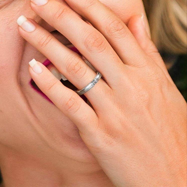 """I Promise"" Princess Diamond Promise Ring in White Gold (3.4 mm)   06"