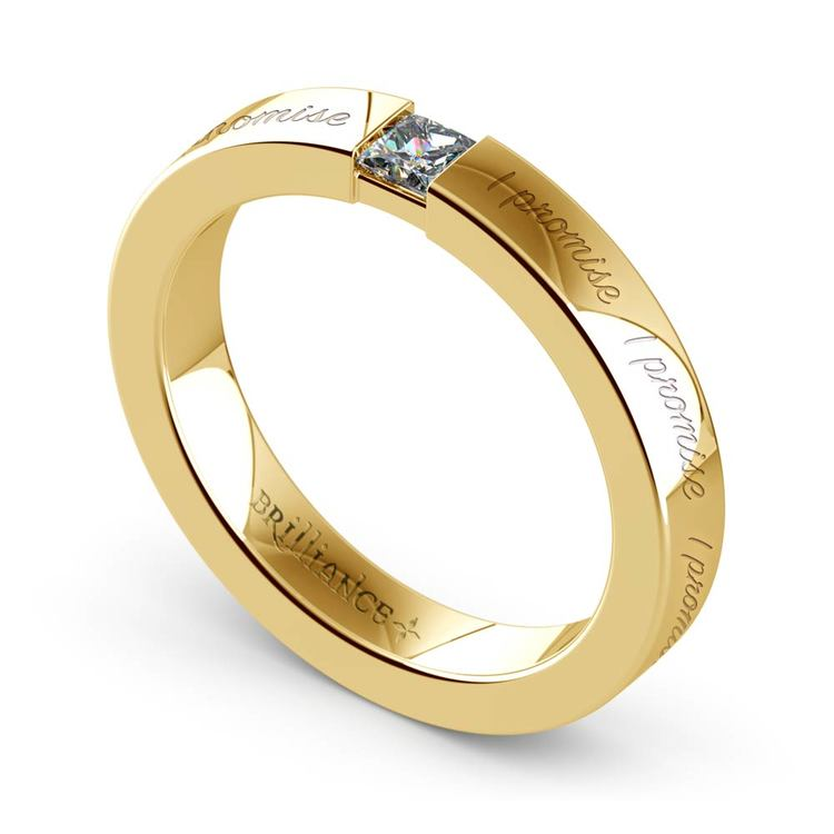 """""""I Promise"""" Princess Diamond Promise Ring in Yellow Gold (3.4 mm) 
