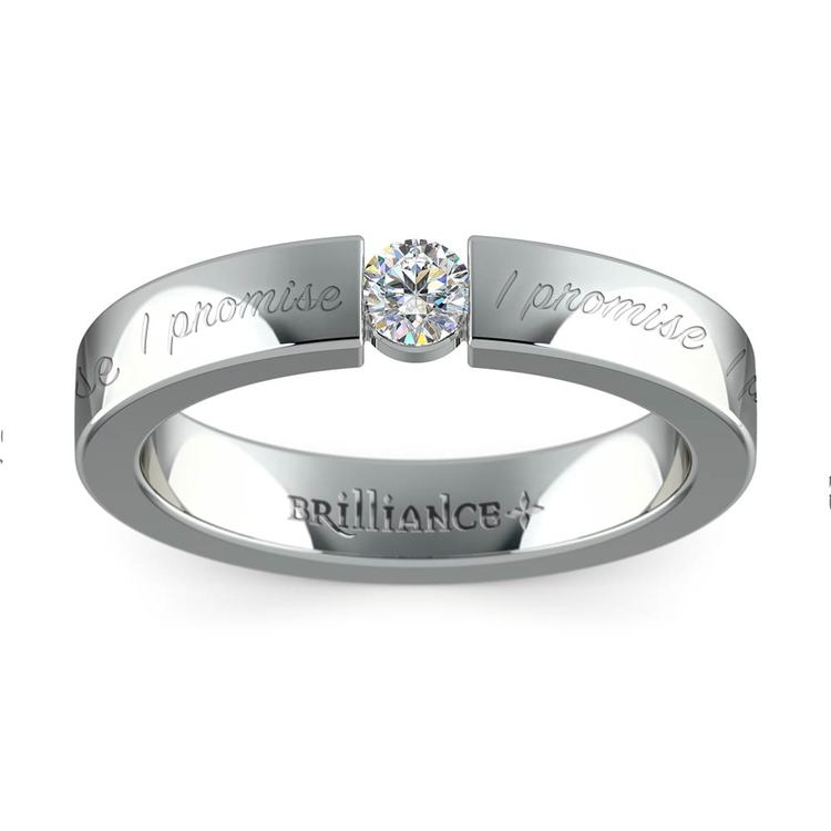 """I Promise"" Round Diamond Promise Ring in White Gold (3.75mm) 