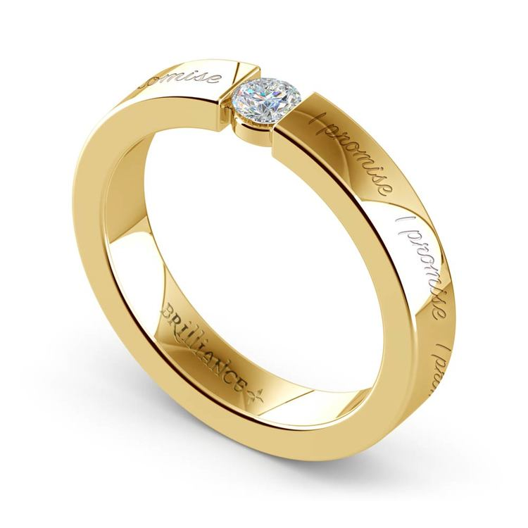 """""""I Promise"""" Round Diamond Promise Ring in Yellow Gold (3.75mm) 