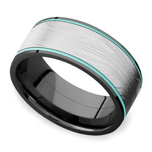 Ice Shelf - Cerakote and Damascus Inlaid Mens Band in Zirconium