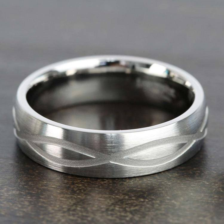 Infinity Pattern Men's Wedding Ring in Titanium | 04