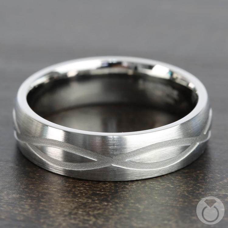 Infinity Pattern Men's Wedding Ring in Titanium | 04