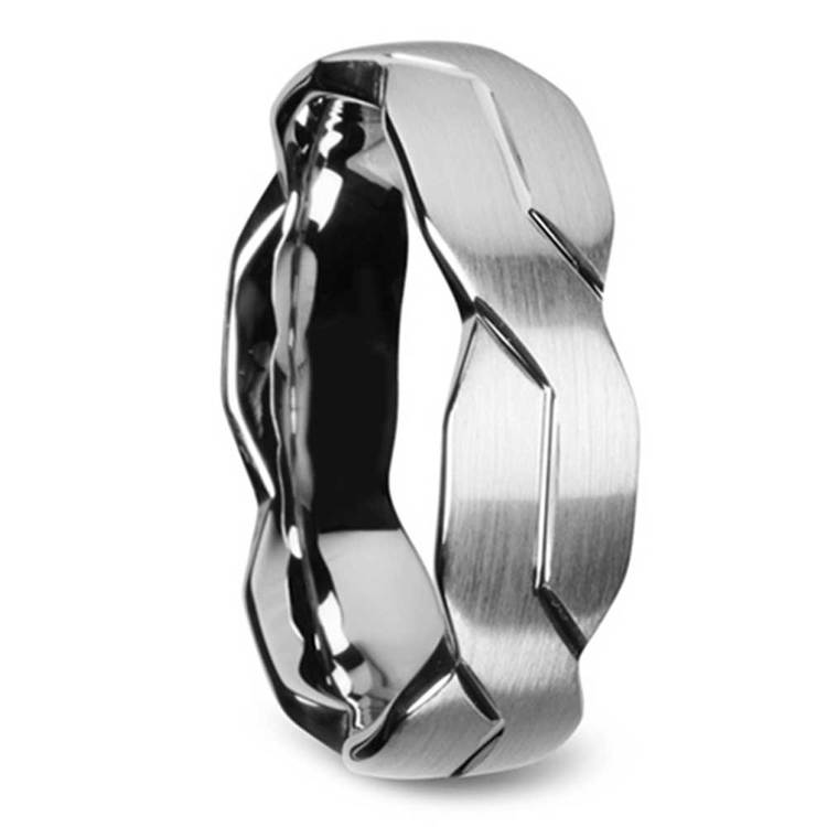 Mobius Strip - 6mm Carved Tungsten Mens Band with Brushed Finish | 02