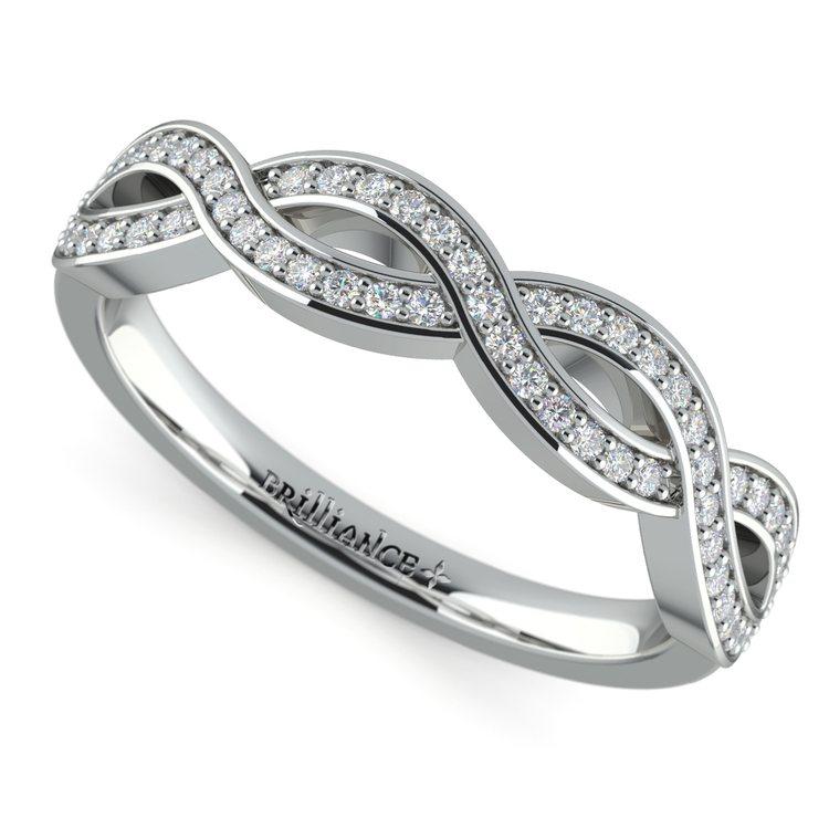 Infinity Twist Diamond Wedding Ring in Platinum | 01