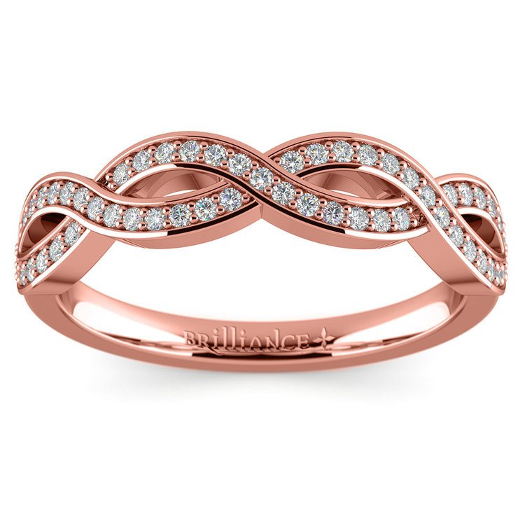 Infinity Twist Diamond Wedding Ring in Rose Gold | 02