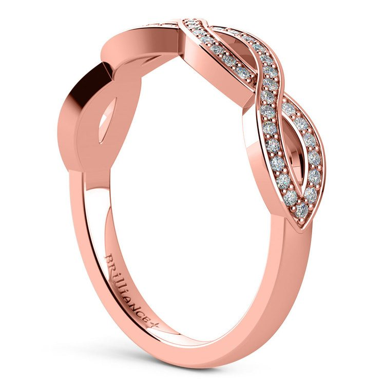 Infinity Twist Diamond Wedding Ring in Rose Gold | 04