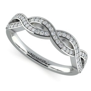 Infinity Twist Diamond Wedding Ring in White Gold