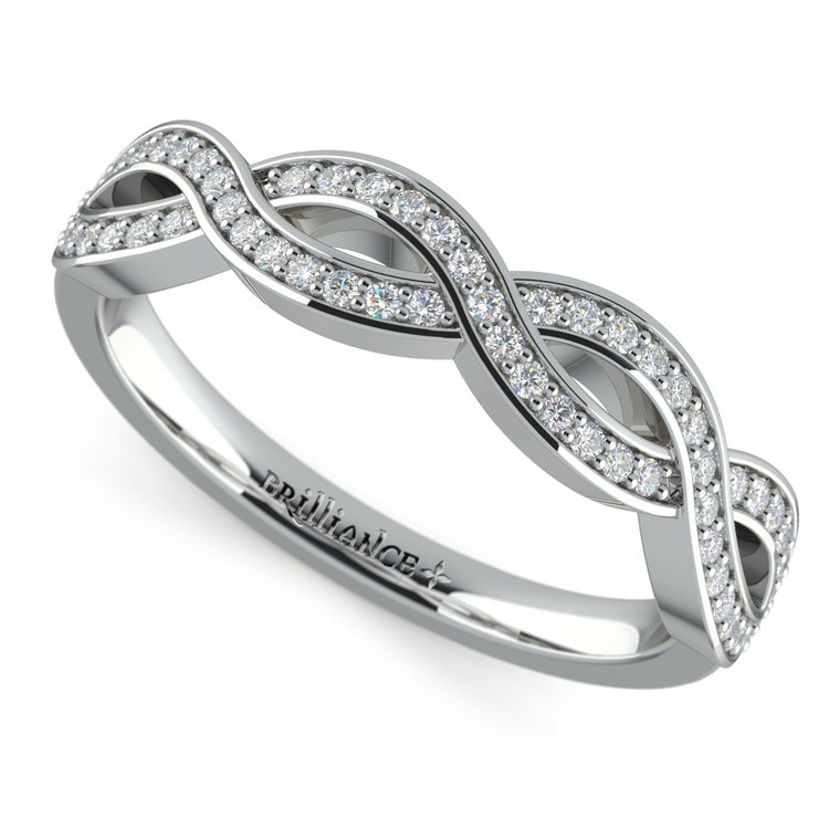 Infinity Twist Diamond Wedding Ring in White Gold | 01
