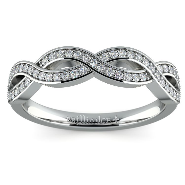 Infinity Twist Diamond Wedding Ring in White Gold | 02