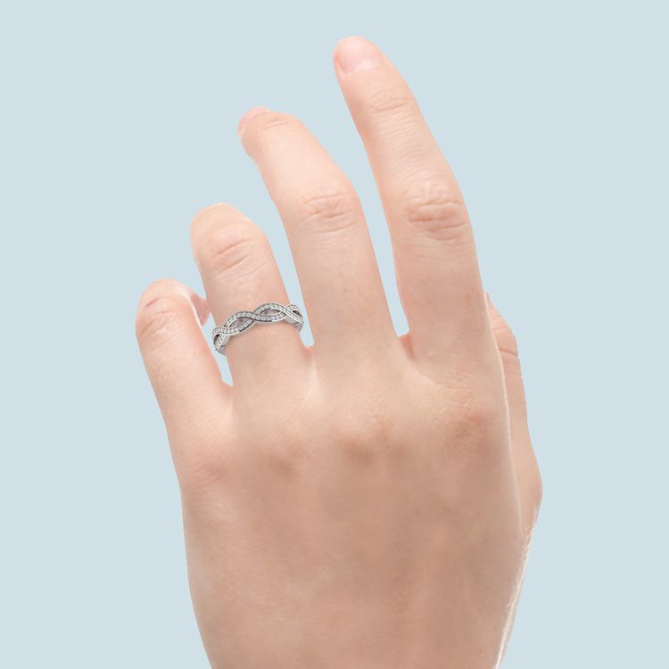 Infinity Twist Diamond Wedding Ring in White Gold   06