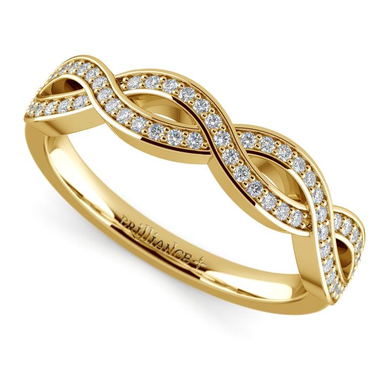Infinity Twist Diamond Wedding Ring In Yellow Gold