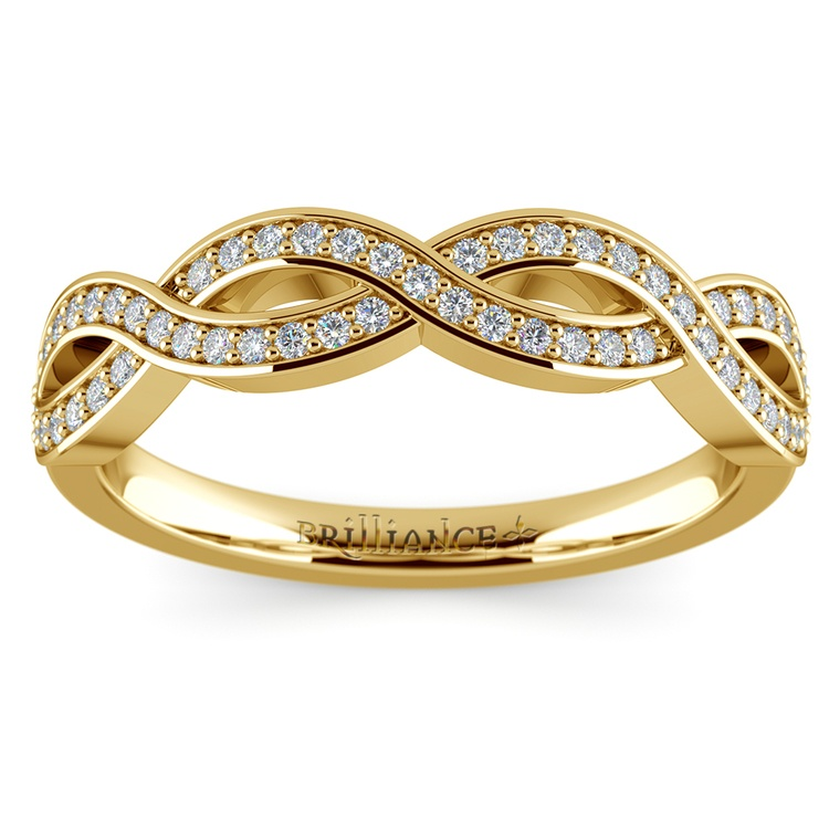 infinity twist wedding ring in yellow gold
