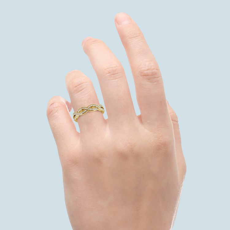Infinity Twist Diamond Wedding Ring in Yellow Gold   06