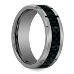 Beveled Carbon Fiber Inlay Men's Wedding Ring in Tungsten | Thumbnail 02