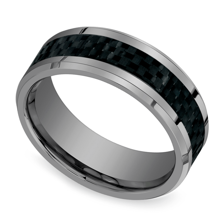 Beveled Carbon Fiber Inlay Men's Wedding Ring in Tungsten | 01