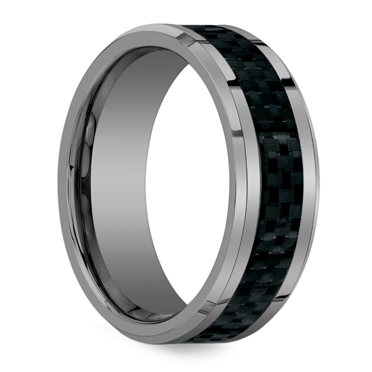 Beveled Carbon Fiber Inlay Men's Wedding Ring in Tungsten | 02