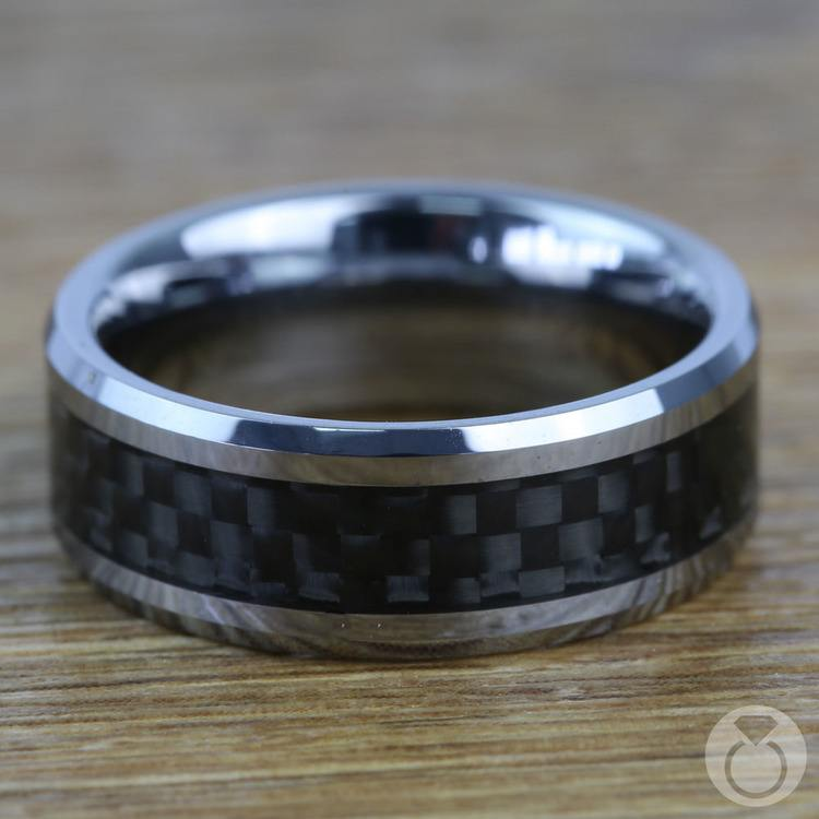 Beveled Carbon Fiber Inlay Men's Wedding Ring in Tungsten | 03