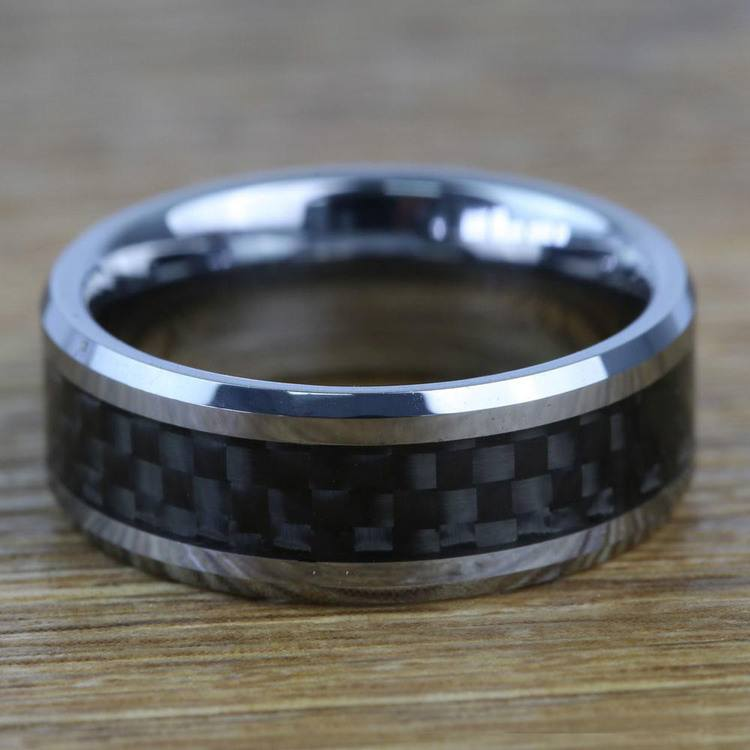 Beveled Carbon Fiber Inlay Men's Wedding Ring in Tungsten | 03