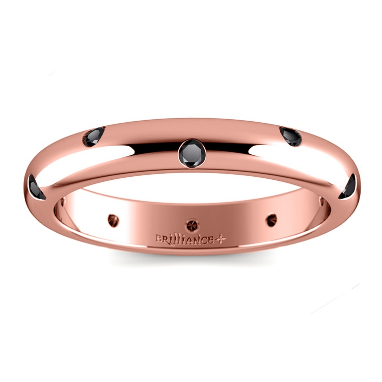 Inset Black Diamond Band in Rose Gold (3 mm) | 02
