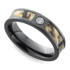 Inset Diamond Wedding Ring with Camo Inlay in Zirconium