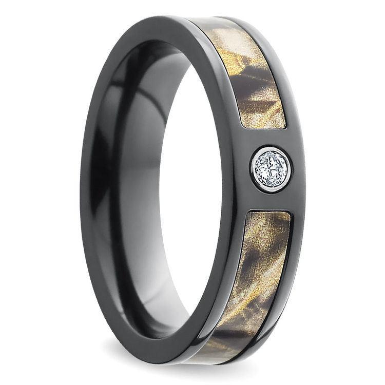 Inset Diamond Wedding Ring with Camo Inlay in Zirconium | 02