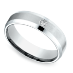 Inset Beveled Men's Wedding Ring in Palladium (6mm) | Thumbnail 01