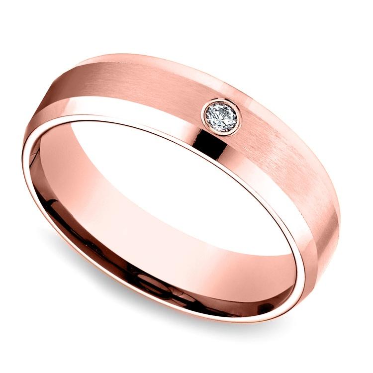 Inset Beveled Men's Wedding Ring in Rose Gold (6mm)   01