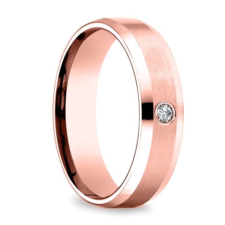 Inset Beveled Men's Wedding Ring in Rose Gold (6mm)   02